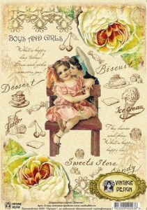 Papier decoupage A4 210x297 - 'boys and girls' S-093 3124