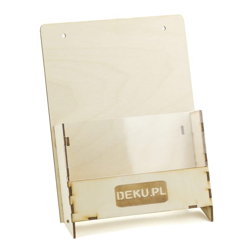 Nietypowy Okaz Deku Drewniany stojak na ulotki A5x1 + akryl 18x22,5x12 cm 570023 BN08